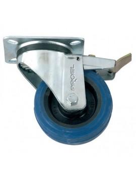 Roda PROEL azul p/ colunas e cases 100 mm e Travão